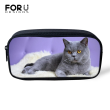 FORUDESIGNS Fat Cute Cats Prints Cosmetic Bags Cartoon Lady Make Up Travel for Women Girls Pen Children Pencil
