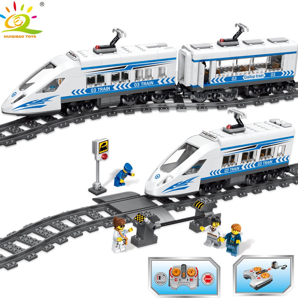 583PCS City RC Train with Track Rail Building Block Compatible legoingly Technic Motor Battery Powered Bricks Toys for Children