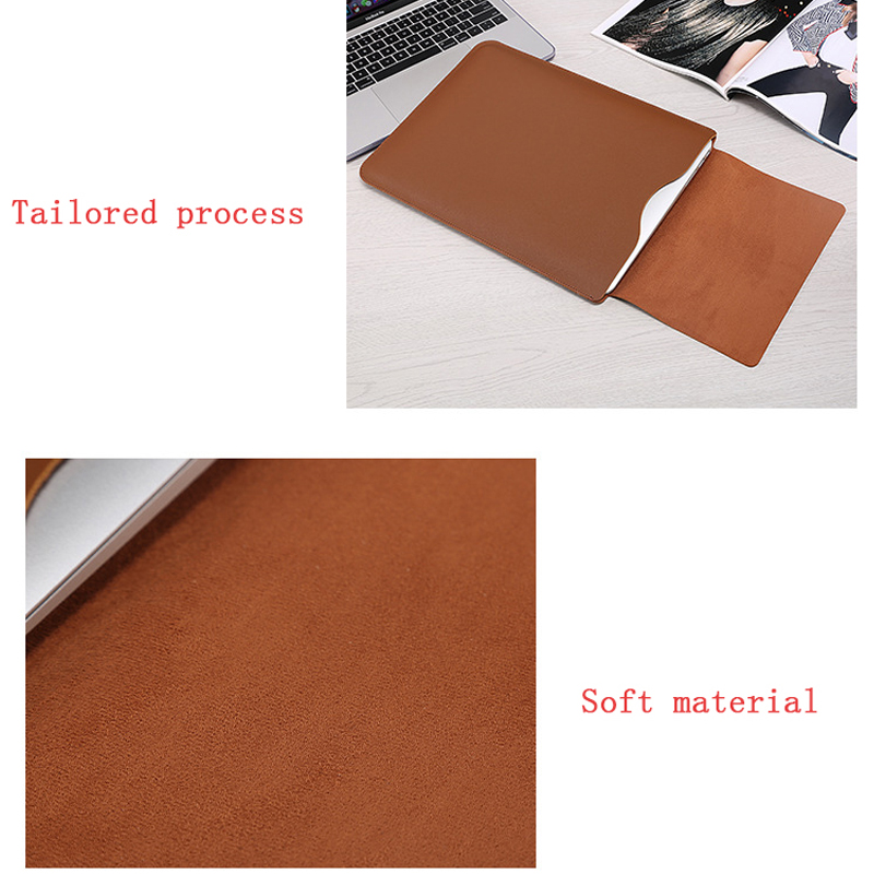 Image 4 - Hot PU Leather Laptop Sleeve Bag For Macbook Air 13 Retina 11 12 15 Notebook Case For Xiaomi Pro 15.6 Women Men Waterproof Cover-in Laptop Bags & Cases from Computer & Office