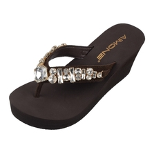 Aimone Summer Zenobia Brown Women Flip Flops Womens Rhinestone High Heel Wedge Sandals Lady Beach Casual Shoes