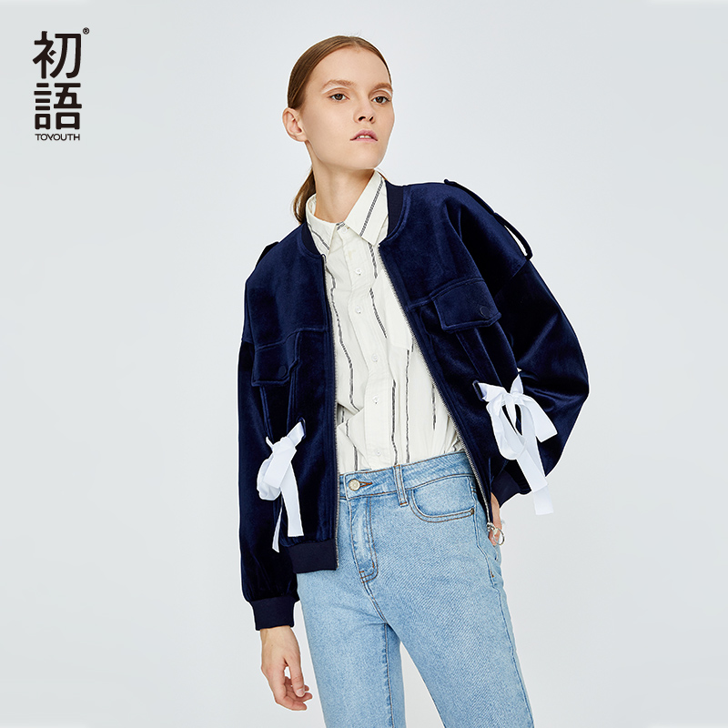 Toyouth Hip-Hop Velvet Coat BF Style Loose Womens Jackets And Coats Kroean Short Coat Designer Jackets Female Tops Manteau Femme