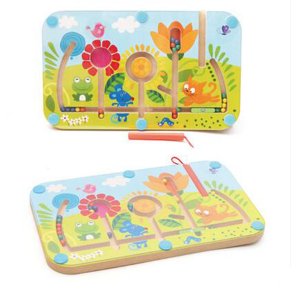 MamimamiHome Baby Wooden Toys Children's Magnetic Beads Magnetic Pen Maze Baby Early Education Game Toys Building Blocks mamimamihome baby toys wooden roller carts children building blocks push cart child walker montessori toys building blocks