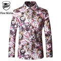Fire Kirin Men Floral Shirt Luxury Men Shirts 5XL Long Sleeve Mens Dress Shirts 2017 Brand Vinatge Retro Fancy Chemise T169