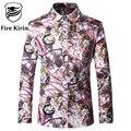 Kirin fuego Hombres Floral Camisa de Los Hombres de Lujo Camisas 5XL Largo Mens Camisas de Vestido de manga 2017 Marca Vinatge Retro Fancy Chemise T169