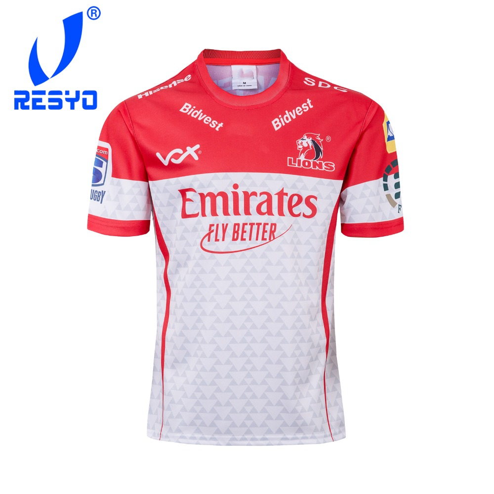 RESYO For 2019 Super Rugby XV Golden Lions Men's RUGBY JERSEY  Sport Shirt Size:S-3XL Free Shipping