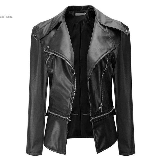 Новые Моды для Женщин Тонкий Байкер Мотоциклов Мягкая Синтетическая Кожа Молния Пальто Куртки