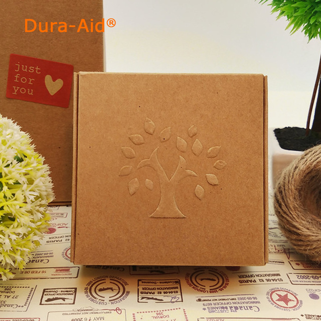 50pcs/lot Small Brown Tree Print Paper Box For Cookie Candy Cheese Cake Gift Packaging Wedding Christmas party gift ideas Box