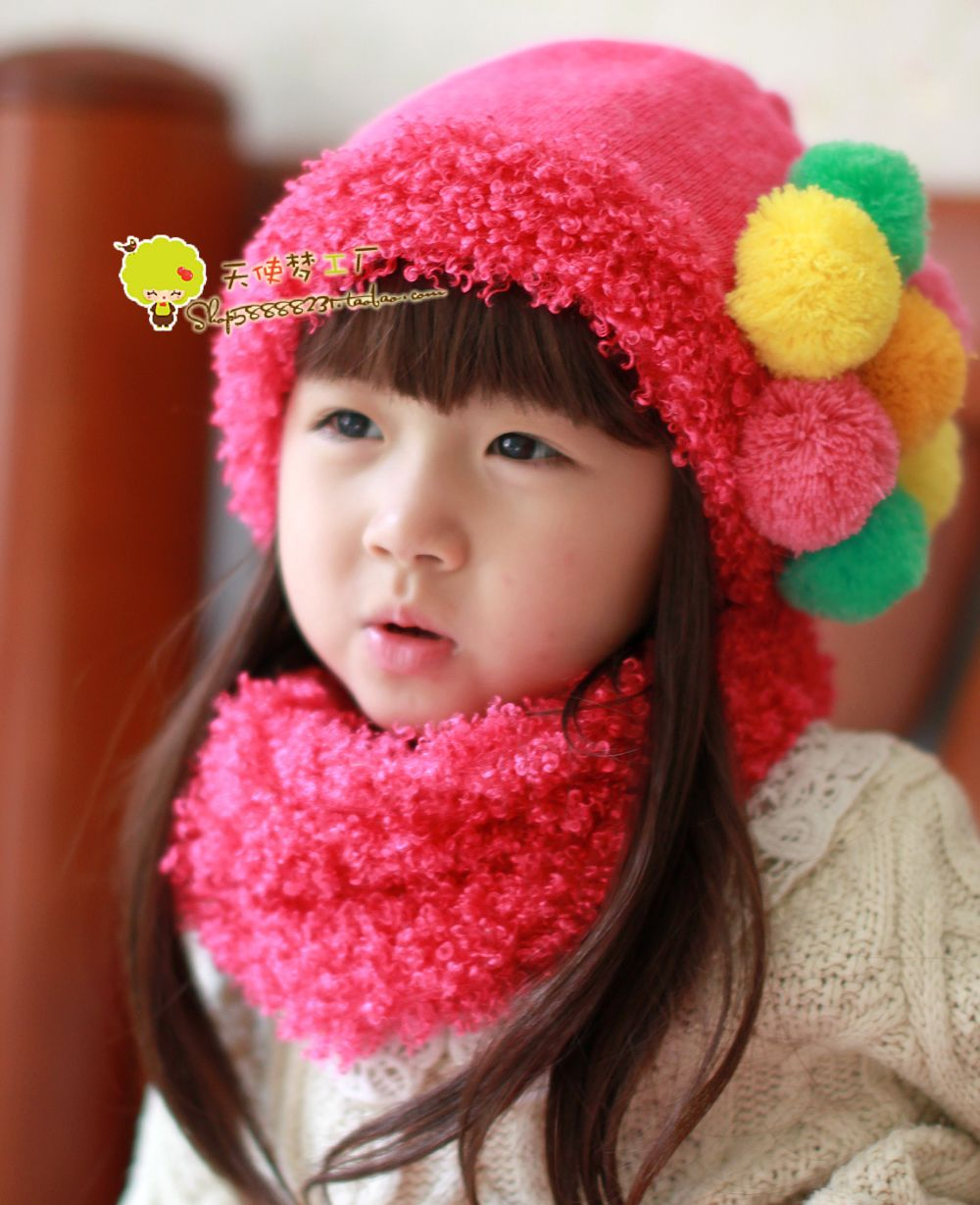 2012 new! hot selling! child baby winter hat & scarf set thickening