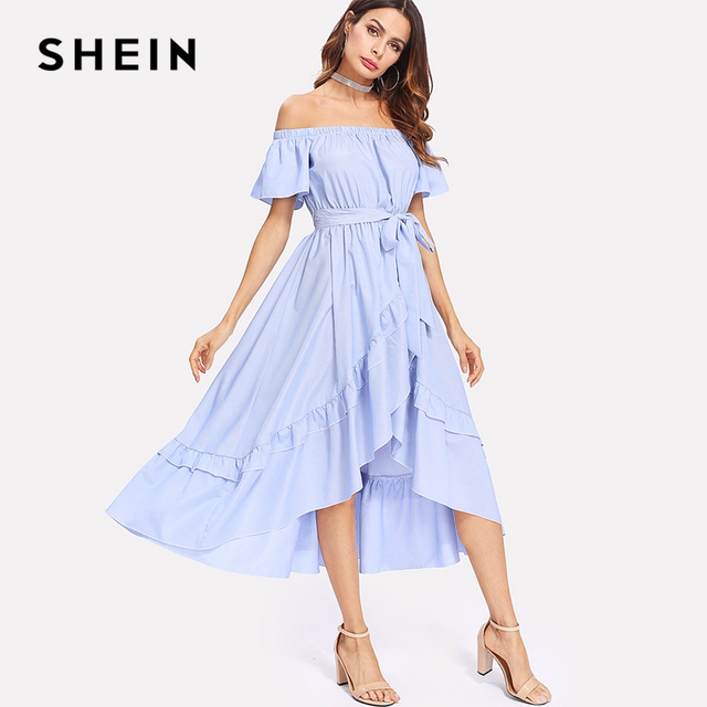 75c4a954c7a82 SHEIN Ruffle Trim Overlap Hem Striped Bardot Dress 2018 Summer Long Dresses  Off The Shoulder Tie Waist A Line Asymmetrical Dress