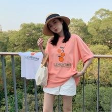 Summer Cute Little Orange Printed Letter Cotton Loose Fresh Vintage Short Sleeve Female T-shirts One Neck