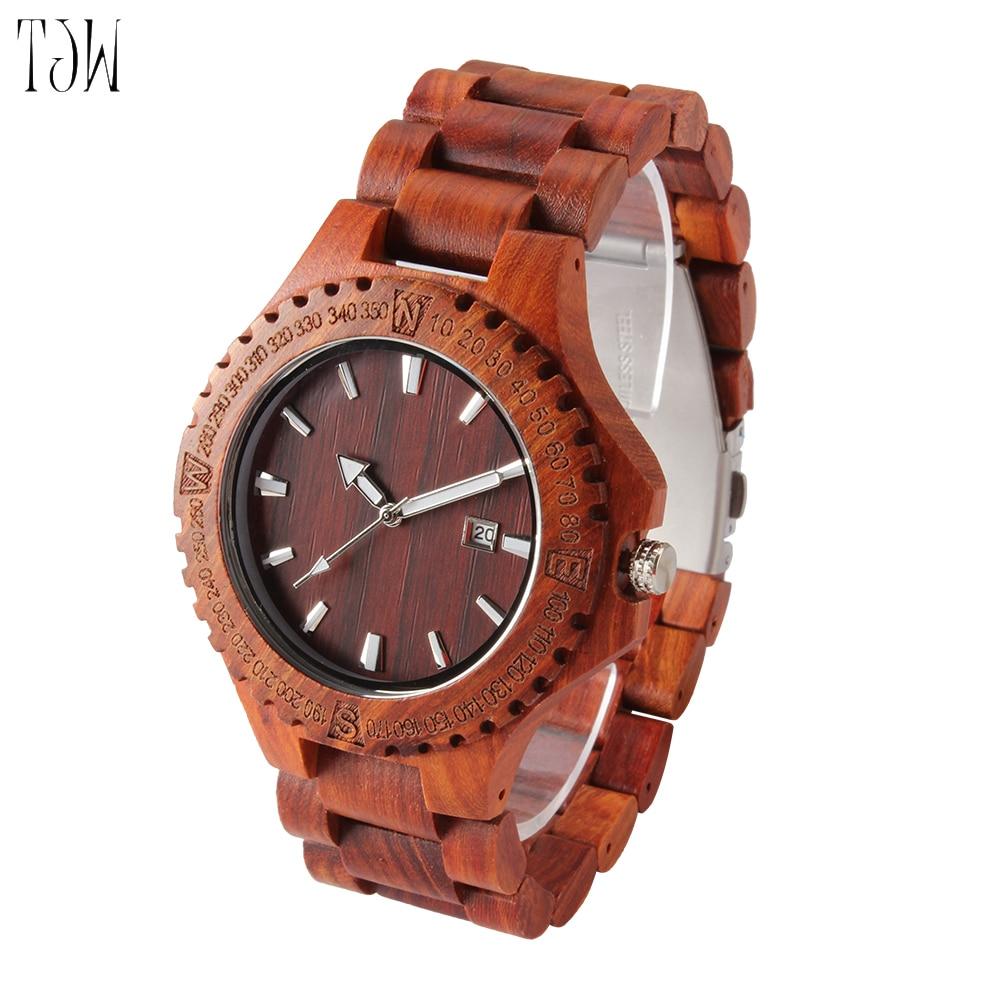 2018 TJW Wooden Watch All-wood Men's Watch Zebra Wood Maple Red Sandalwood Handmade Wooden Watch