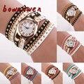 Bowaiwen #0077 Moda Nuevo de Las Mujeres Atractivo Cuerda Trenzada Wrap Reloj de Pulsera de Cuarzo Del Cristal de Reloj de Pulsera de Remaches Belleza Braclet