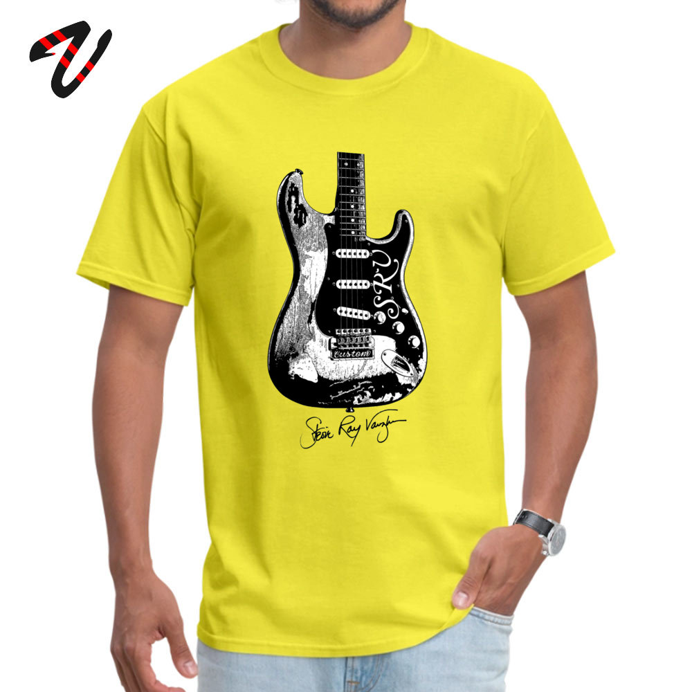 Normal Tshirts Funny Short Sleeve 2019 Newest O-Neck All Cotton Tees Normal Sweatshirts for Adult Summer Fall Drop Shipping Stevie Ray Vaughan Guitar Blues Rock legend yellow