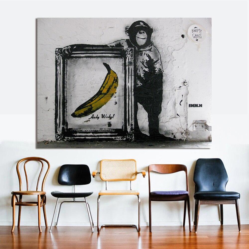 Graffiti art home decor - Hdartisan Wall Pictures For Living Room Street Canvas Art Banksy Chimp Banana Home Decor Graffiti