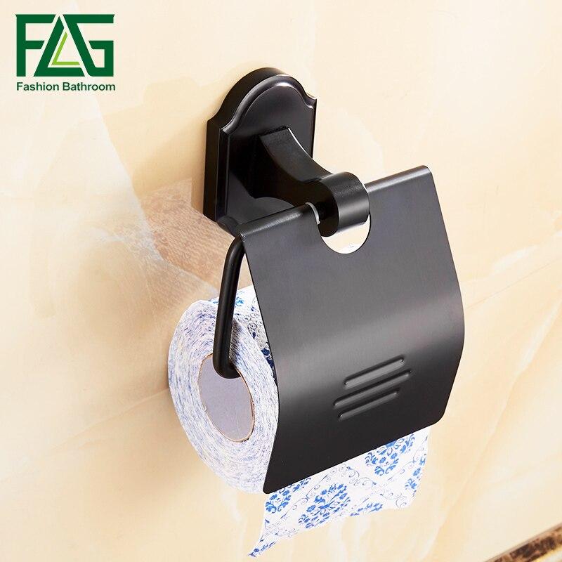 FLG Montagem Na Parede Suporte De Rolo de Papel Higiênico Espaço Rack De Alumínio Suporte de Papel Acessórios Do Banheiro suporte do papel higiénico com Acabamento Em Preto