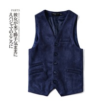 Upscale New Spring, Autumn and Winter Suede Coffee Dark Blue Waistcoat Mens Vest British Style Vests