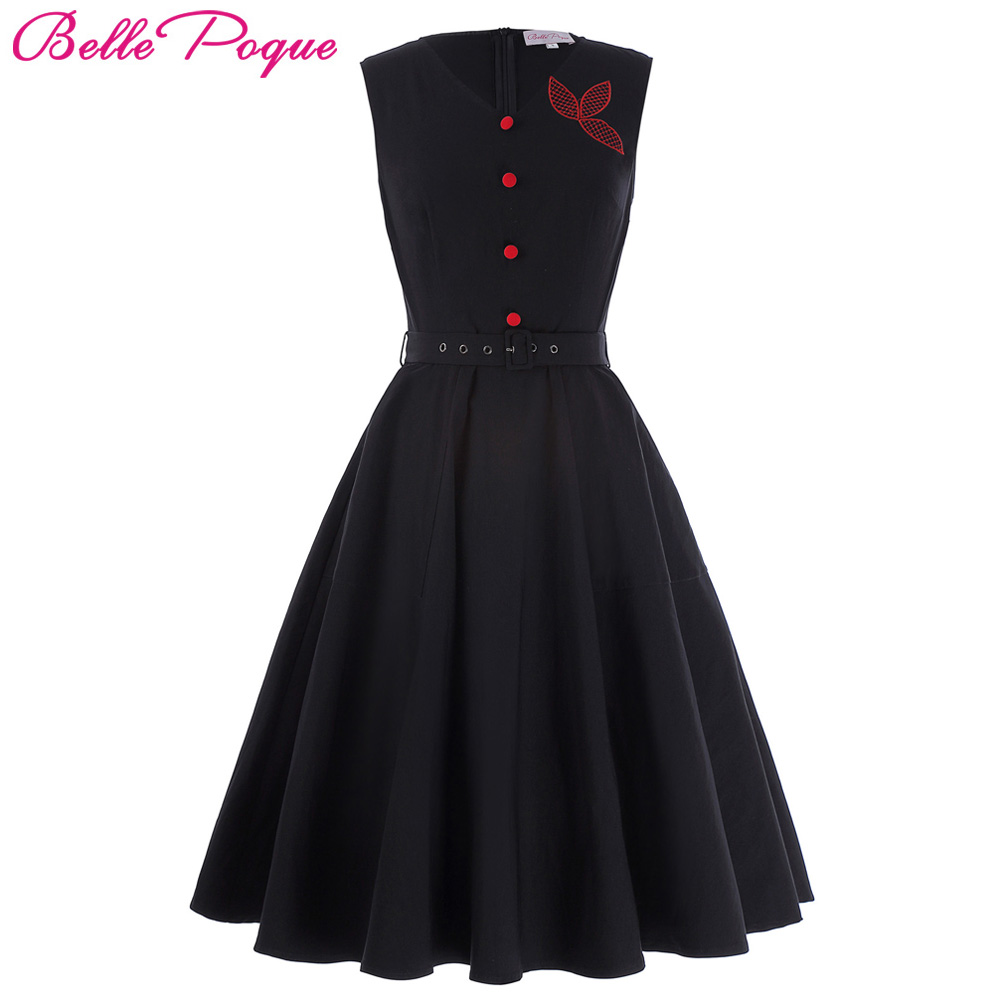 Belle Poque Plus Size Women Dress Vintage Robe Femme Rockabilly Sexy Black Sleeveless Vestidos Mujer 50s