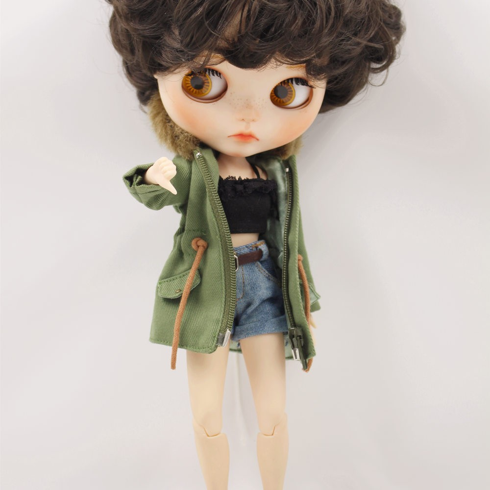 Neo Blythe Doll Denim Shorts Black Lace Bra With Green Army Jacket 4