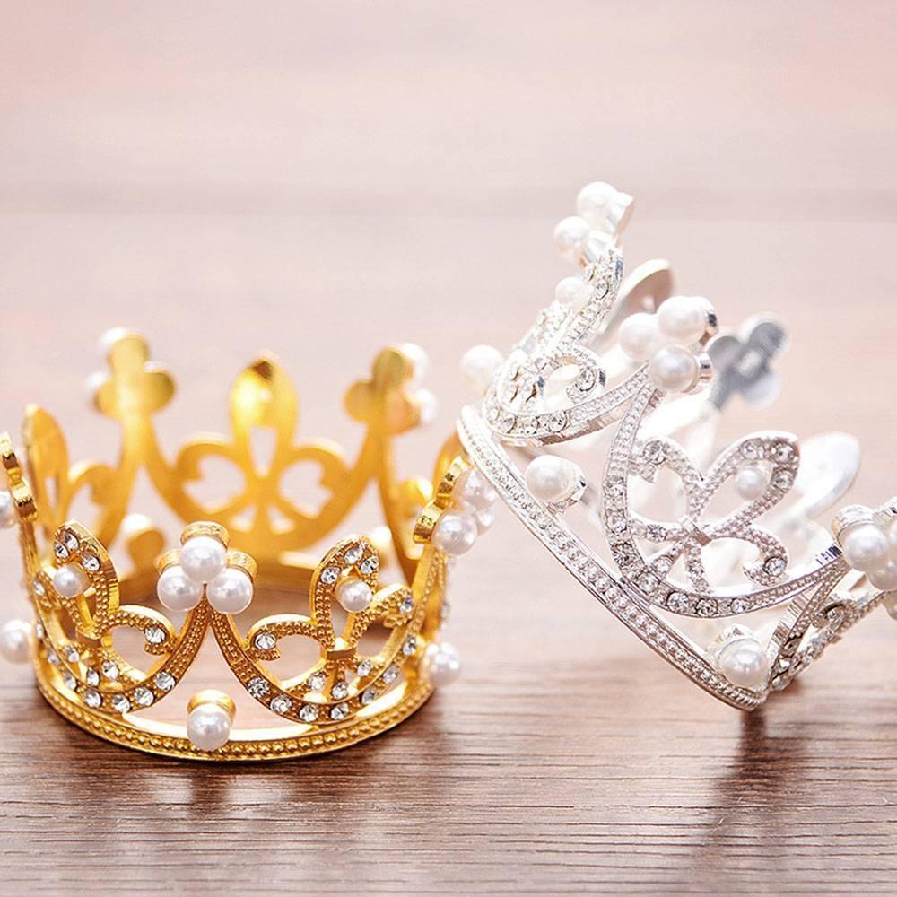 1PC Kids Girls Tiara Crown Crystal And Imitation Pearl Wedding Birthday Prom Hair Accessories Princess Crown Jewelry Ornaments