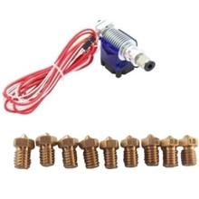 3D Printer V6 J-Head Hotend 1.75Mm Nozzle Extruder With 9Pcs Nozzles Set V6 J-Head Hot End + 9X Nozzles Kit For 3D Printer