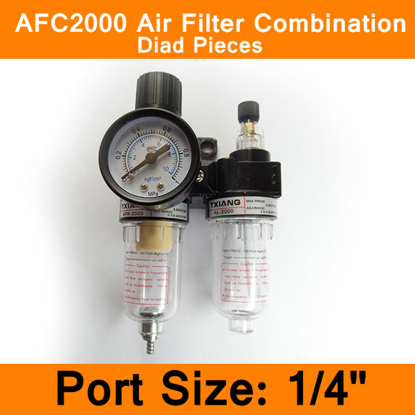 AFC2000 Air Filter Regulator Combination Lubricator Combinations 1/4 Port FRL Union Air Treatment Oil Water Separation afc2000 g1 4 air filter regulator combination lubricator frl two union treatment afr2000 al2000