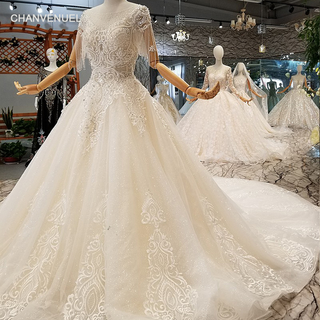 LS247001 shiny lace wedding gowns o-neck beaded short sleeves backless wedding  dresses plus size can customize free shipping 973f4f013e00