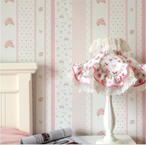 Pink floral wallpaper flower pvc wall paper for child for Floral wallpaper bedroom ideas