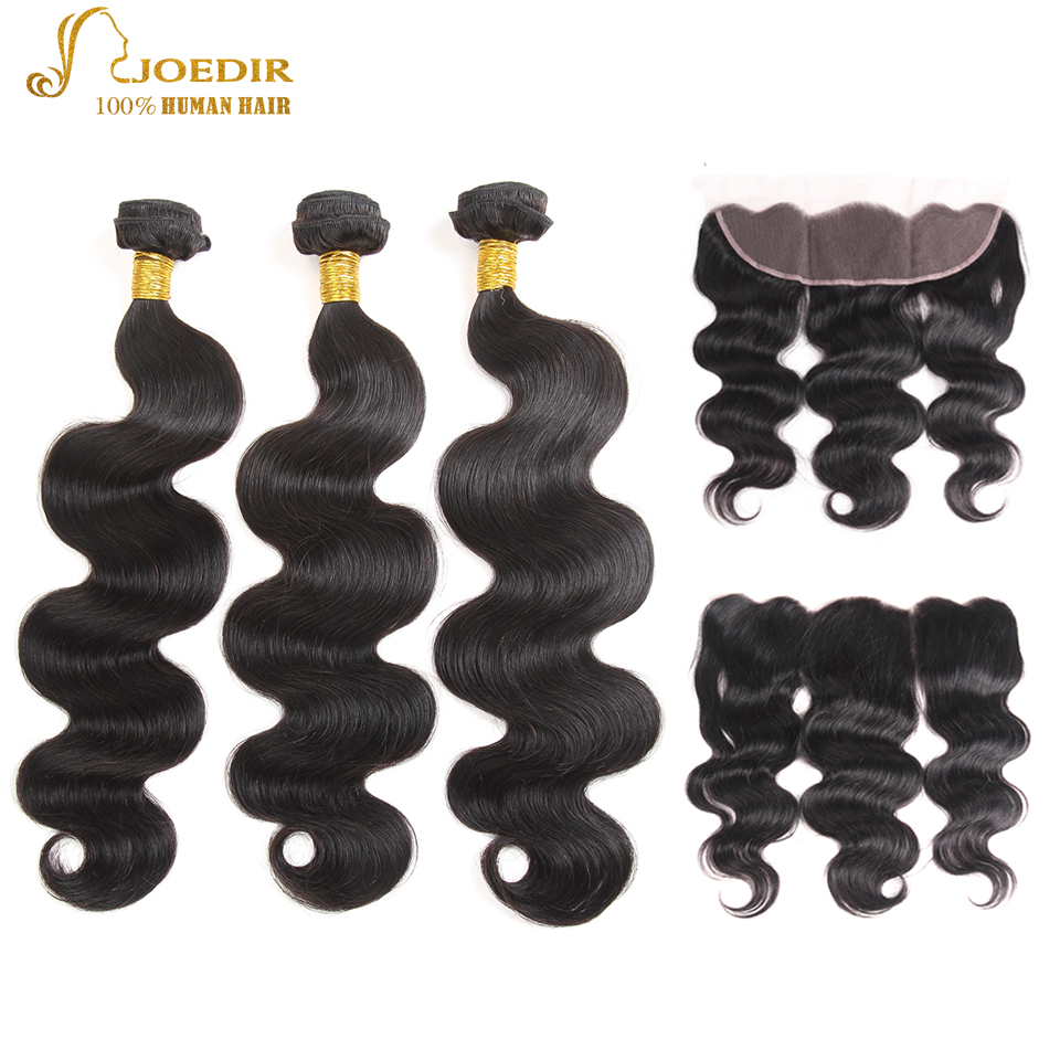 Joedir Body Peruvian Body Wave Bundles With 13X4 Lace Frontal Non Remy Hair Extension Body Wave 3 Bundles With Closure Free Ship