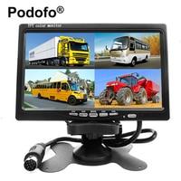Podofo 7インチ4分割画面カーモニター4チャンネルtft lcdディスプレイdc 12ボルト用逆転カメラシステム車のバックミラーモニタ