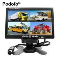 Podofo 7 بوصة 4 تقسيم شاشة رصد سيارة 4 قنوات tft شاشة lcd dc 12 فولت ل عكس الكاميرا نظام رصد السيارة الخلفية