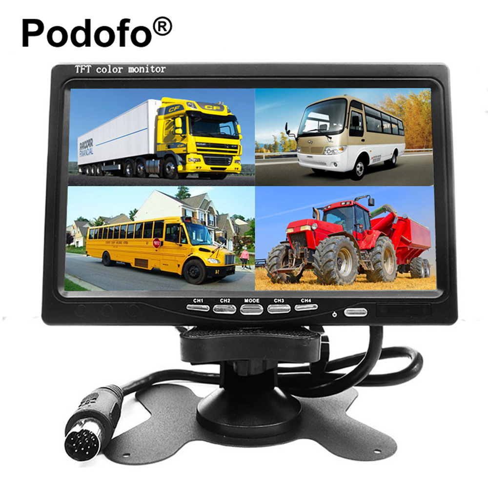 Podofo 7 Inch 4 Split Screen Car Monitor 4 Channels TFT LCD Display DC 12V for Reversing Camera System Car Rearview Monitor buyee 7 inch tft lcd car reversing rearview display monitor 1 2 4 split screen for car parking rear view camera 4 av inputs