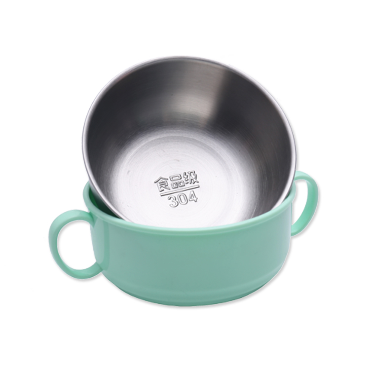 Hot Sale 304 stainless steel children insulated sealed anti-drop anti-blunt ears bowl food containers baby kids dinnerware