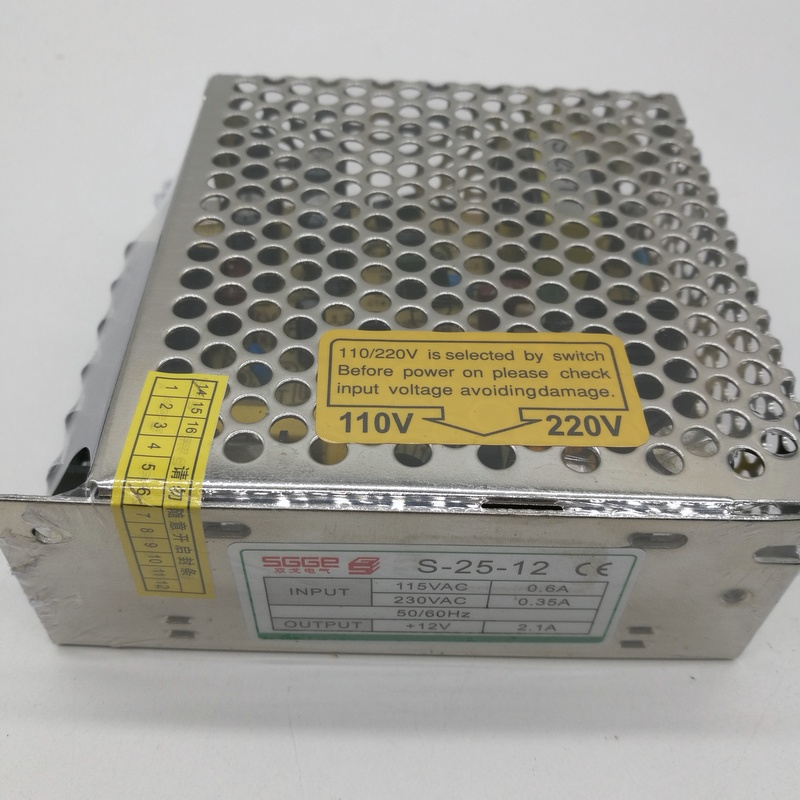 S-25W 12V 2.1A одиночный выходной импульсный источник питания для светодиодной ленты