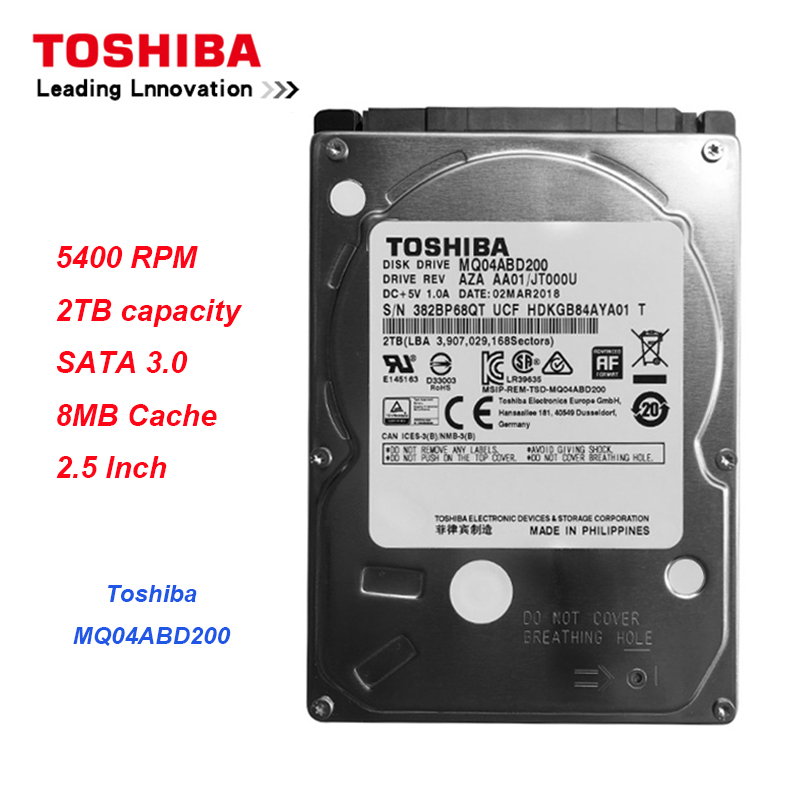 Original Toshiba MQ04ABD200 <font><b>2TB</b></font> Hard Drive Disk SATA 5400RPM 16MB Cache 7mm Thinness <font><b>2.5</b></font>