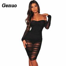 Genuo Black Bandage Bodycon Dress Off Shoulder Long Sleeve Pleated Mesh Women Evening Wear Sexy Club Dresses vestidos