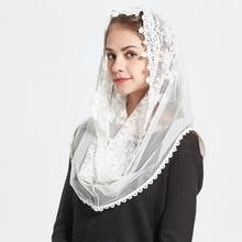 レースインフィニティスカーフ女性アイボリー結婚式の花嫁介添人ソフトチャペルベール伝統的なカトリックヒジャーブイスラム教スカーフ