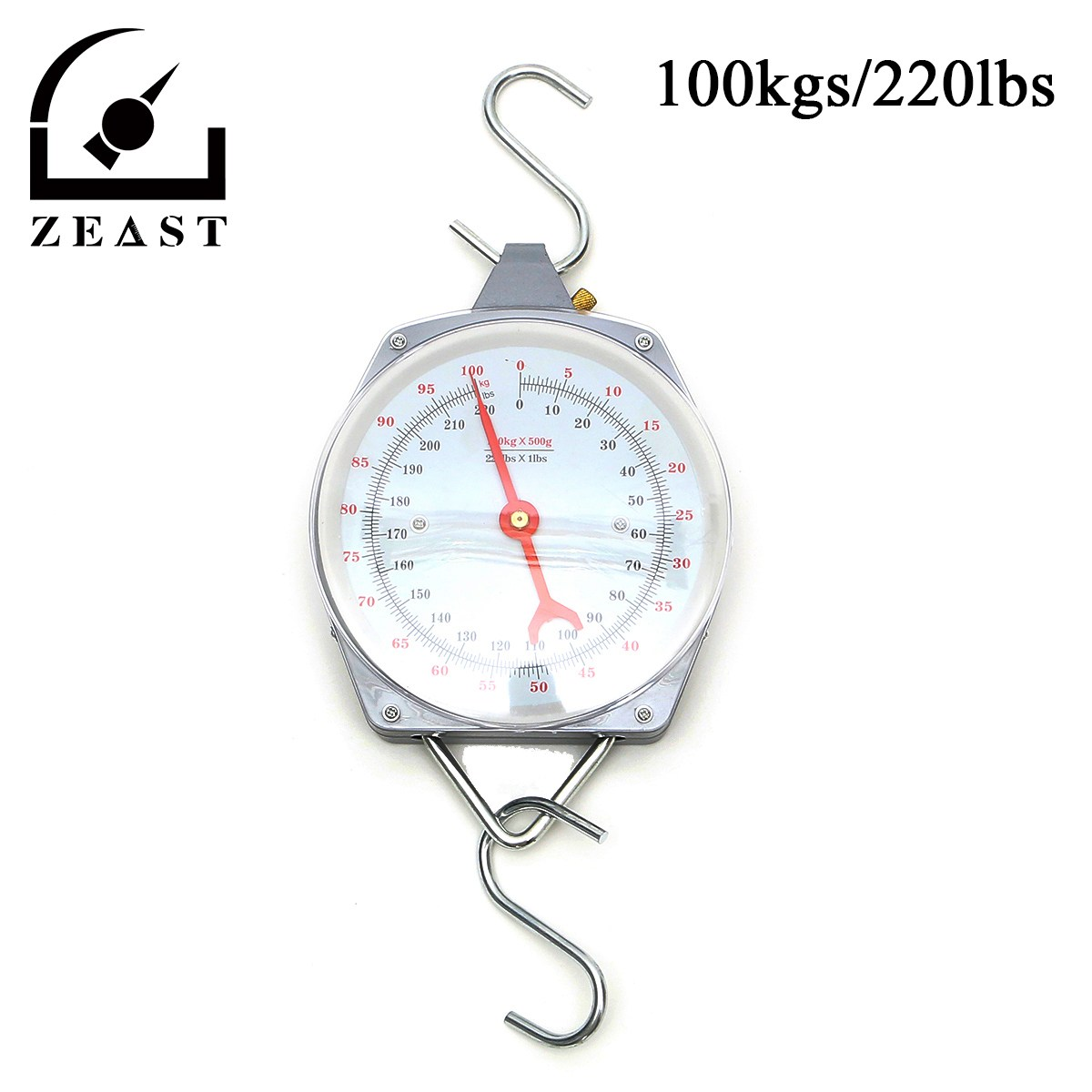 hanging scale 100kg 220lbs capacity alloy mechanical hanging scales with 2 hookchina mainland - Hanging Scale