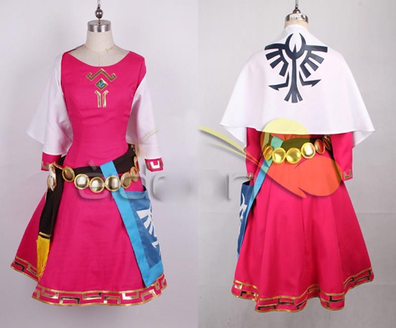 The Legend of Zelda Skyward Sword Zelda Women Cosplay Dress/Princess Zelda Costume  Christmas Adult Kids Costumes Custom
