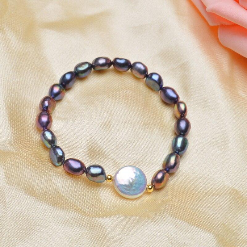 ASHIQI genuino botón de 12-13mm pulseras de perlas de agua dulce - Joyas - foto 2