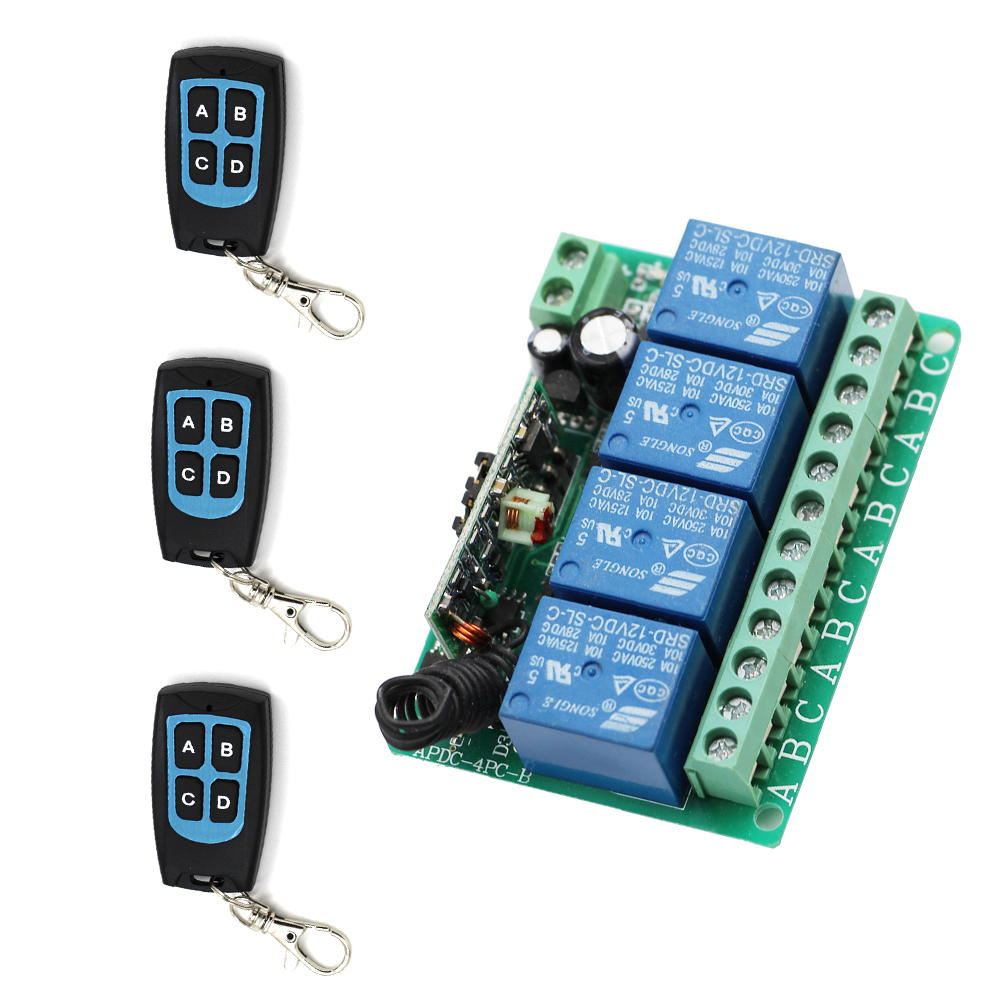 315Mhz 433Mhz  DC12V 4CH RF Wireless Remote Control Switch System Learning Code Receiver With 3*Transmitter For Light Lamp penny dale ten out of bed