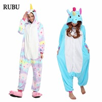 Onesie Adult Rainbow Star Unicorn Animal Pajamas Flannel Pikachu Totoro Panda Stitch Onesies Cosplay Costumes Pajamas