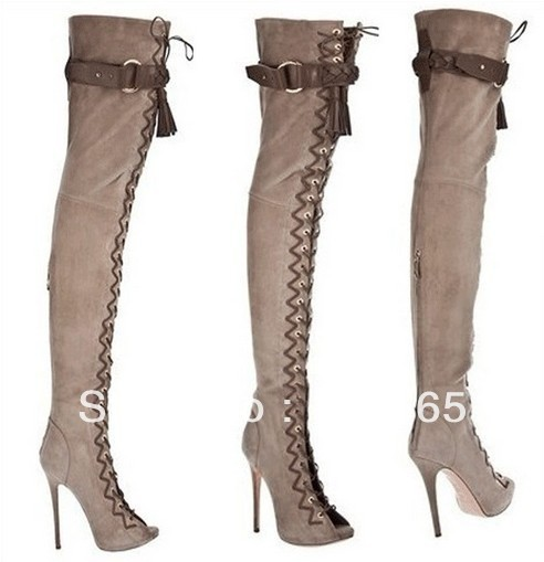 Aliexpress.com : Buy New designer Lace up thigh high boots fashion ...