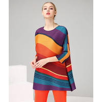 Miyake Fold summer Style Lady's Loose Large Size Top Seven Dimensional Sleeve Rainbow Stripe T shirt free shipping