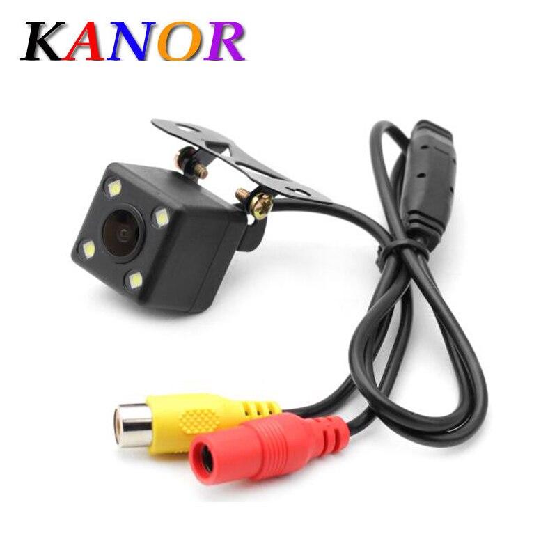 все цены на KANOR Universal Waterproof Rear View Camera with 4 LED Car Back Reverse Camera RCA Night Vision Parking Assistance Cameras онлайн