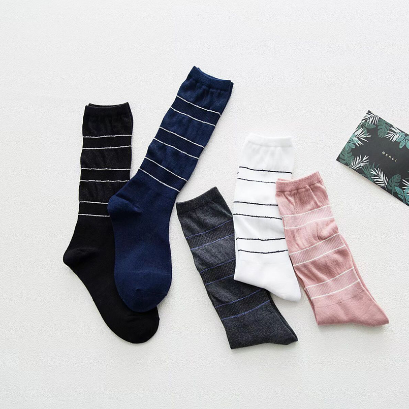 New 10 Pairs Compression Socks Women 100% Cotton Striped Long Socks Winter Warm Funny Womens Socks For Ladies Hot Sale