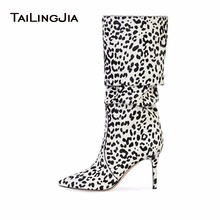 цены на Fashion Leopard Knee Boots Thin High Heel Pointed Toe Ladies Long Boots Winter Warm Large size Shoes 2019  в интернет-магазинах
