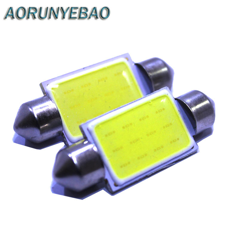 AORUNYEBAO 6X  31mm 36mm 39mm 41mm 12V C5W C10W White COB 12 Chips SMD LED Festoon Auto Interior Light Lamp Bulb For Car