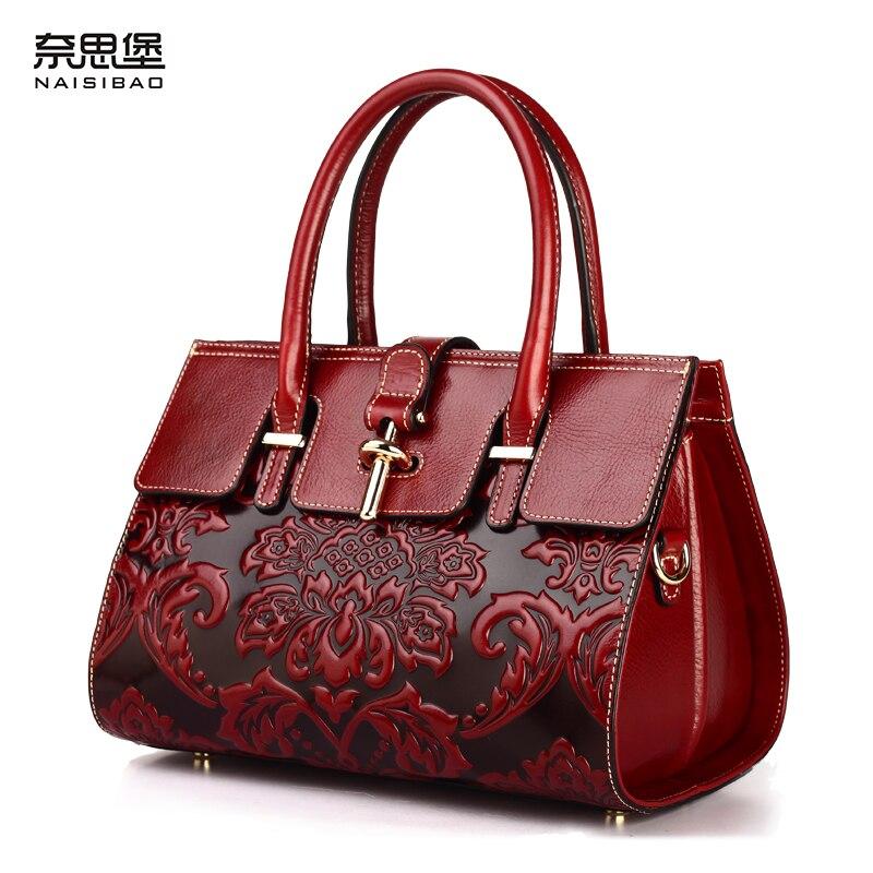 купить NAISIBAO 100% genuine leather handbag women messenger bags 2018 luxury leather bag vintage totes designer handbags high quality по цене 7248.43 рублей