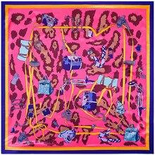 90x90 cm 100% 실크 레오파드 가방 스카프 목도리 인쇄 실크 스카프 이슬람 광장 스카프 echarpe 레이디 선물 두건 축제 좋은 선물