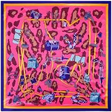 90x90 cm 100% sacchetto del leopardo dello scialle della sciarpa di seta sciarpa di seta stampa Fazzoletto Sciarpa quadrata Musulmana lady regalo Bandana festival buon regalo